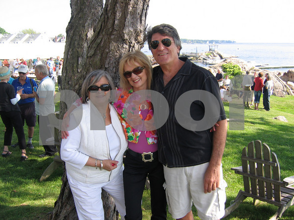 Richard Rosenfeld celebrates his birthday on Rocky Neck, May 30, 2009<br /> From left are  Vicki DiezCanseco, (Kathy Stuart?) and Dave Saginario