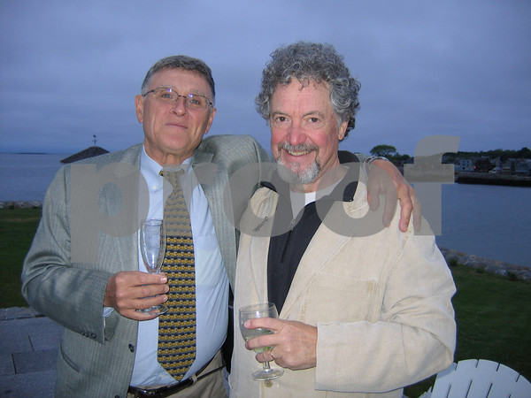 Steve Schwartz, WGBH radio host of Jazz from Studio Four stands with Fred Bouchard, who teaches at Berklee and is also a freelance writer  A fundraising event for Rockport Music at a Beach Street home on June 11, 2009 at a private Beach Street home