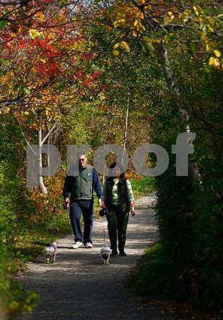 Rockport: George Johnson and Kelly Lee of Coventry, RI walk their dogs, Abby and Bailey, along the paths at Halibut Point State Park. Photo by Kate Glass/Gloucester Daily Times Wednesday, October 22, 2008