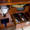 The Windfall has numerous storage compartments in the galley to store dinnerware, and offers protection in high seas.