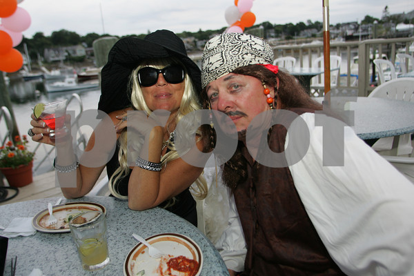 "Segrid Olsen and Curtis Sanders attend the ""Dudes and Divas"" themed Beaux Arts Costume Ball at The Studio on Rocky Neck The evening included, food, a silent auction and dancing to raise money for the Rocky Neck Art Colony. Photo by Mary Muckenhoupt"