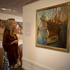 Alison Callahan of Rockport looks at the exhibit Ars Longa, Vita Brevis: Rockport Artists in the 1930s, which is at the Cape Ann Museum through October 16, 2010.<br /> Photo by Amy Sweeney