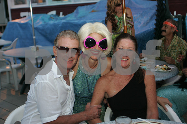 """Rich Viglione, Brenda Malloy and Anne Moynahan attend the """"Dudes and Divas"""" themed Beaux Arts Costume Ball at The Studio on Rocky Neck The evening included, food, a silent auction and dancing to raise money for the Rocky Neck Art Colony. Photo by Mary Muckenhoupt"""