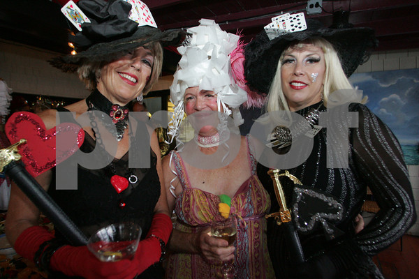 "Margi Green, left, Susie Field and Dale Grasso attend the ""Dudes and Divas"" themed Beaux Arts Costume Ball at The Studio on Rocky Neck The evening included, food, a silent auction and dancing to raise money for the Rocky Neck Art Colony. Photo by Mary Muckenhoupt"