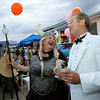 "Sabine Ocker laughs with Jay Bragg at the ""Dudes and Divas"" themed Beaux Arts Costume Ball at The Studio on Rocky Neck The evening included, food, a silent auction and dancing to raise money for the Rocky Neck Art Colony. Photo by Mary Muckenhoupt"