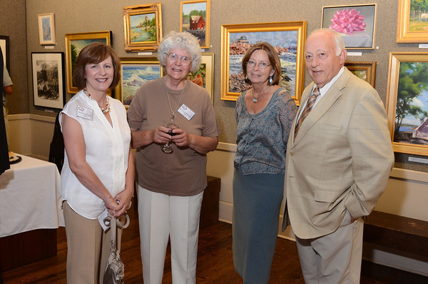 Gloucester: Left to Rigth Mary Rose O'Connell, Betty Lou Schlemm, Jude Abbe and Steve Schwatz at the North Shore Arts Association for the Art Auction 2011 sponsored by Cape Ann Savings Trust and Financial Services on July 29,2011. Desi Smith/Gloucester Daily Times.