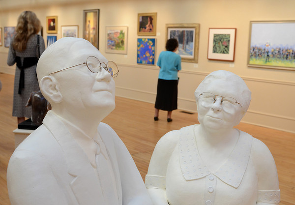 "Rockport: Carole L Stremple's sculpture entitled Jim and Mary or Mary and Jim? that won the Majorie Romyns Memorial Award was on display at the Rockport Art Association for the exhibition titled ""Marquerite Pearson-- Hell on Wheels""  Desi Smith/Gloucester Daily Times. July 21,2011"