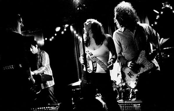 Photo courtesy of Tony Goddess. The Rudds and Andrea Gillis Lizard Lounge Get the Femuline Hang On release show, 2005. Tony Goddess is at far right.