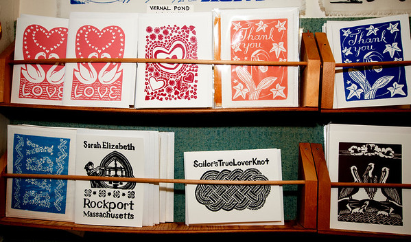 Photo by Jim Vaiknoras<br /> The Sarah Elizabeth Shop carries a variety of greeting cards made by owner Julia Garrison on the shop's press, which is more than 150 years old.