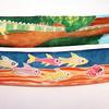 "ALLEGRA BOVERMAN/Cape Ann Magazine. Hand-painted 100 percent silk scarves by Adriana ""Gigi"" Mederos of Aquatro Gallery in Rocky Neck. From top to bottom: ""Iguana,"" $100; ""Encounter,"" $100."