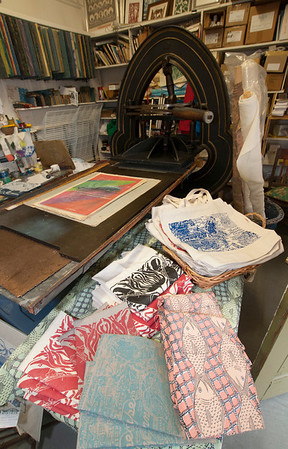 Jim Vaiknoras/Cape Ann Magazine:  The block press and items made and for sale insideThe Sarah Elizabeth Shop in Rockport
