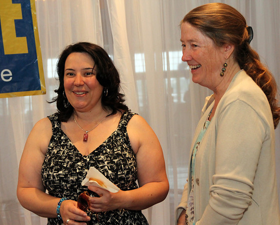 ALLEGRA BOVERMAN/Cape Ann Magazine. At the 40th Birthday Party for State Rep. Ann-Margaret Ferrante at Cruiseport on June 22. Ferrante is at left, with Pat Baker of West Gloucester.