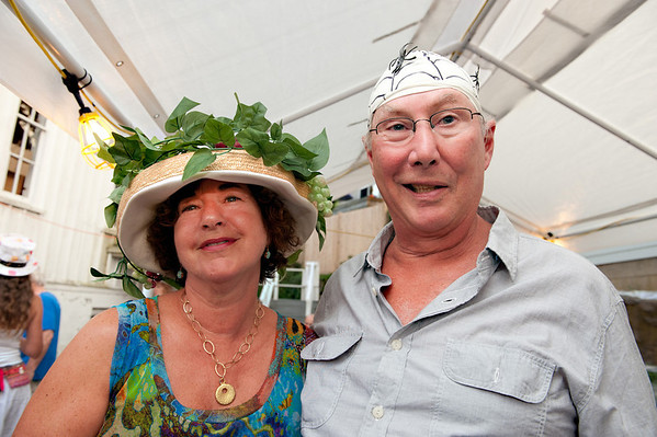 """Gloucester:  Roz and Rick Gold sport their hats at """"Pass the Hats'"""" a Gala Celebration of Gloucester'Äôs Rocky Neck Cultural District on Friday, August 17, Desi Smith/Gloucester Daily Times. August 17,2012"""