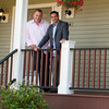 Hosts of Flipping Boston on left Dave Seymour and Peter Souhleris stand on the porch of a completed project in Rockport,Mass. The project will be air on A&E sometime in October. Desi Smith/ Gloucester Daily Times