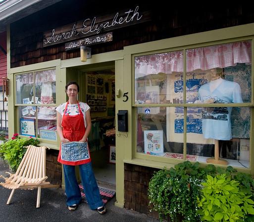 Jim Vaiknoras/Cape Ann Magazine: Julia Garrison outside of The Sarah Elizabeth Shop in Rockport.