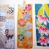 "ALLEGRA BOVERMAN/Cape Ann Magazine. Hand-painted 100 percent silk scarves by Adriana ""Gigi"" Mederos of Aquatro Gallery in Rocky Neck. From left: ""Cappucino Morning,"" $100, ""Echinonoidea,"" $120, ""Mottled flowers, turquoise background,"" $100."