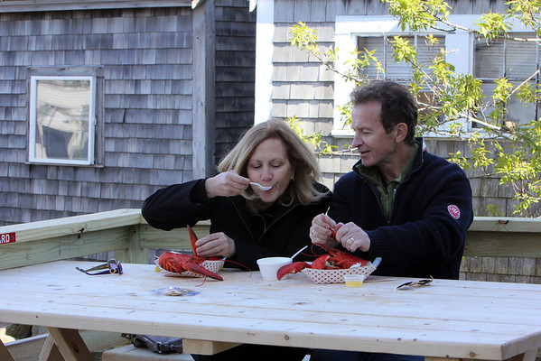 ALLEGRA BOVERMAN/Cape Ann Magazine Sue and Peter Andersen of Rockport eating clam chowder and lobster together at Roy Moore's Lobster Shack in Bearskin Neck, Rockport.
