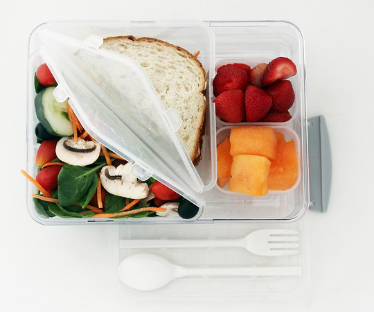 ALLEGRA BOVERMAN/Cape Ann Magazine The Rove on the go living seven-piece laptop bistro box. For cold and hot lunch. Includes a fork and a spoon, two triangular containers, two condiment containers and the bistro box with lid. $15 at Marshalls.