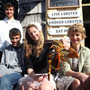 ALLEGRA BOVERMAN/Cape Ann Magazine With a live lobster at Roy Moore Lobster Shack in Bearskin Neck. From left are: Luke and Quinn Andersen, Emily Arntsen and Ethan Andersen.