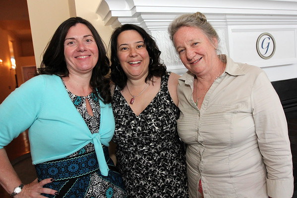 ALLEGRA BOVERMAN/Cape Ann Magazine. At the 40th Birthday Party for State Rep. Ann-Margaret Ferrante at Cruiseport on June 22. From left are Sheila Wulsin, Ferrante and Toody Healy.