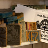 Jim Vaiknoras/Cape Ann Magazine: Printing blocks and a few greeting cards insideThe Sarah Elizabeth Shop in Rockport