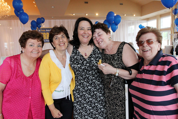 ALLEGRA BOVERMAN/Cape Ann Magazine. At the 40th Birthday Party for State Rep. Ann-Margaret Ferrante at Cruiseport on June 22. From left are family members Grace Ann Giacalone, Gerry Willette, Ferrante, her mother Frances Ferrante, and Kathleen Giacalone.