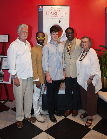 Gloucester: From left  John Byrnes with actors Anthony Wills Jr, Peter Mark Kendall, Johnny Lee Davenport and Mollie Byrnes pose for a photo at the Gloucester Stage Company party.   Desi Smith/Gloucester Daily Times. August 8,2012