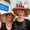 Nonie Brady, left, and artist Ruth Mordecai show off their hats at Pass the Hats, a Gala Celebration of Gloucester's Rocky Neck Cultural District on Friday, August 17, Desi Smith/Gloucester Daily Times. August 17,2012