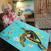 "ALLEGRA BOVERMAN/Cape Ann Magazine. Rose-Marie Glen of Annisquam with her Parsons Table titled ""Under the Deep Blue Sea - Hawaii."""