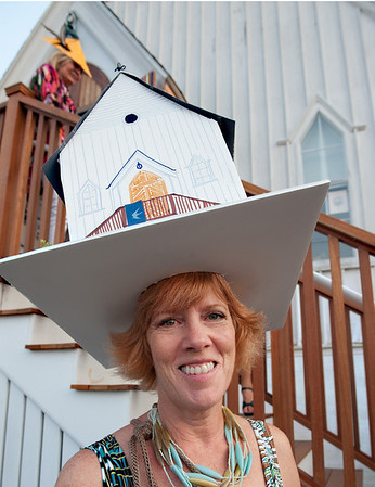 Gloucester:  Sharon Bragg wears her Cultural Center at Rocky Neck hat, made to look like the Cultural Center at Rocky Neck were the event took place, Friday August 17, 2012. Desi Smith/Gloucester Daily Times. August 17,2012