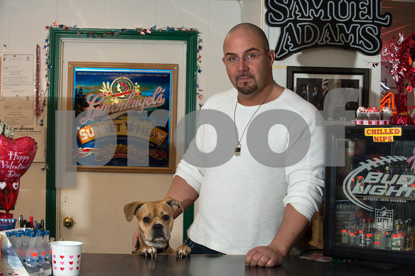 Desi Smith/Cape Ann<br /> Vinnie Marano of Essex Wine & Spirits on Main Street in Essex, brings Mumma, a 3-year-old American Pit Bull Terrier, to the shop daily.