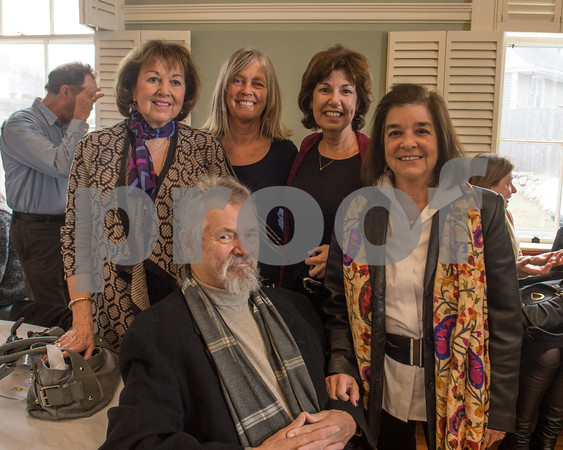 Desi Smith/Cape Ann<br /> Catching up with artist Donald Moser, seated, and his wife Christine, far right, are, from left, Nancy Strisik, Carol Mortimore and Karen Berger,.
