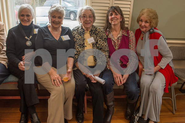 Desi Smith/Cape Ann<br /> Enjoying the party are, from left, Jeanne Havran, Helene Pierce, Christine Pitman, Nancy Pitman and Carol Carlson, who came out to honor Betty Lou Schlemm. The party was a surprise for Schlemm, who has painted and taught for many many decades on Cape Ann, on her 80th birthday. It was  at the Rockport Community House on January 12,2014