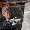 Desi Smith/Cape Ann<br /> Sean Fitzpatrick use an electric drill to create detail on an ice sculpture for Cape Pond Ice in the Gloucester business' icehouse.