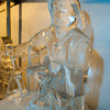 Desi Smith/Cape Ann<br /> An ice carving of Gloucester's iconic Man at the Wheel sits in the 28-degree F icehouse at Cape Pond Ice where new sculptures are on display.