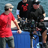 "Filming of promotional stills and video for the second season of 'Wicked Tuna"" in mid-September are, from left, Andy Baker, Kory Kozak and Bill Roach of the National Geographic Channel. The spots were done at the Gloucester Marine Railways in Rocky Neck. Photo by Allegra Boverman."