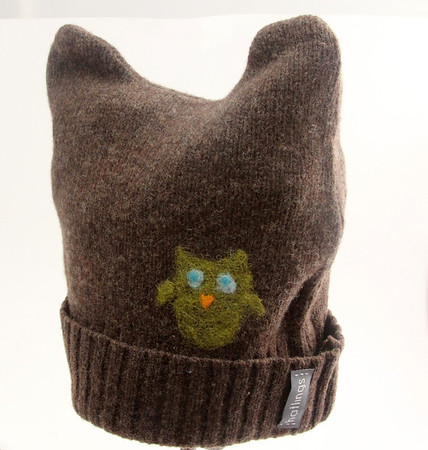 Hatlings child's woolen hat with felt applique. Many colors and styles. Made from upcycled sweaters in Gloucester. Sizes 0 - 8 years old, in three size ranges. $24.95. Available at Zak's in Manchester. Photo by Allegra Boverman.