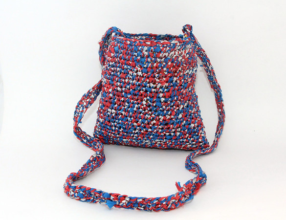 """A recently made Patriots-themed bag by Accursio """"Gus"""" and Francesca Alba of Gloucester. Photo by Allegra Boverman."""