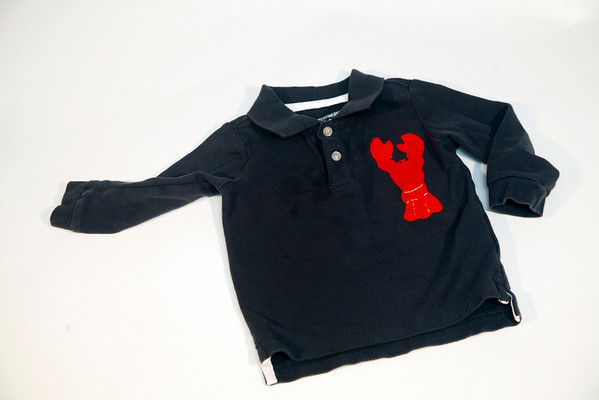 Upcycled collared shirt with hand-applique, $21. My Sea Baby, 17 Mount Pleasant Street, Rockport. myseababy.com Photo by Allegra Boverman.