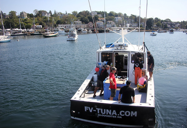 During the filming of promotional stills and video for the second season of Wicked Tuna in mid-September, at Gloucester Marine Railways in Rocky Neck. Photo by Allegra Boverman.