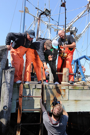"""""""Wicked Tuna"""" captains, from left, Bill Monte of the Bounty Hunter), Dave Carraro of the FV-Tuna.com, Tyler McLaughlin of the Pin Wheel, and Dave Marciano of Hard Merchandise pose for photographer Jesse Edwards of Evolve IMG.<br /> Photo by Allegra Boverman. Photo by Allegra Boverman."""