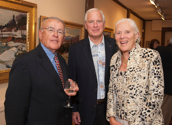 Rockport: Alan Jenko, Richard and Deb Carlson at the Gala for Aldro Hibbard exhibit at Rockport Art Association. Desi Smith/Gloucester Daily Times. October4, 2012