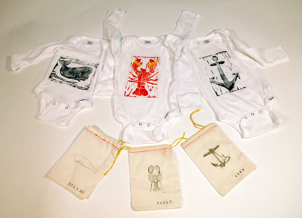 Hand-printed block print onesies with matching hand-printed block print drawstring bags. Long-sleeved $19.95, short-sleeved $18. My Sea Baby, 17 Mount Pleasant Street, Rockport. myseababy.comPhoto by Allegra Boverman.