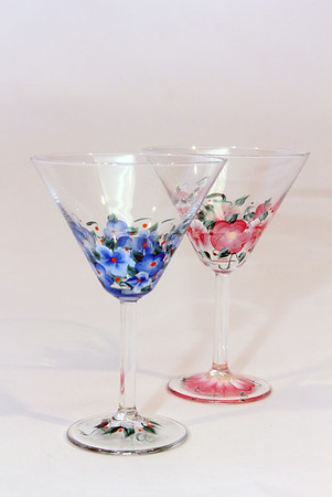 """Handpainted glasses, $15 per pair. Pauline's Gift Shop, 512 Essex Ave., Gloucester. 978-281-5558  <a href=""""http://www.paulinesgiftshop.comPhoto"""">http://www.paulinesgiftshop.comPhoto</a> by Allegra Boverman."""