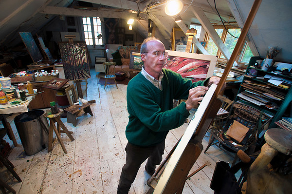 Jim Vaiknoras/Cape Ann Magazine:   Robert Hanlon works in his studio at Walker Creek Gallery in Essex