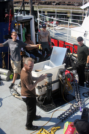 During the filming of promotional stills and video for the second season of Wicked Tuna in mid-September, at Gloucester Marine Railways in Rocky Neck. The production crew waits to set off for open water to do some filming. Photo by Allegra Boverman.