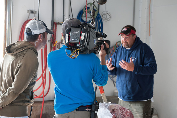 Rick Schrafft, a tuna buyer for Compass Seafood on Commercial Street, explains how tuna is graded for market. Sashimi or Grade 1 tuna is fatty and the flesh has good color and clarity; Grade 2 has less fat than Grade 1; and Grade 3, or grill grade, may have a brown color and bitter taste. Photo by Desi Smith.
