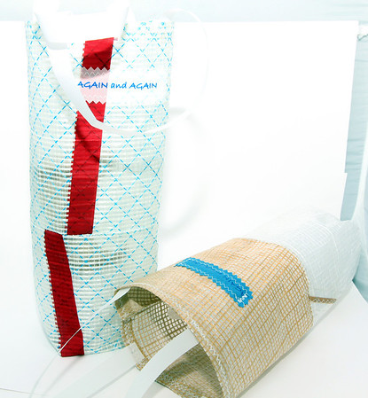Again and Again sailcloth wine bags, made in Gloucester, $22 each. milk & honey, 1 Main St., Rockport, 978-546-6546 milkandhoneyrockport.blogspot.com Photo by Allegra Boverman.