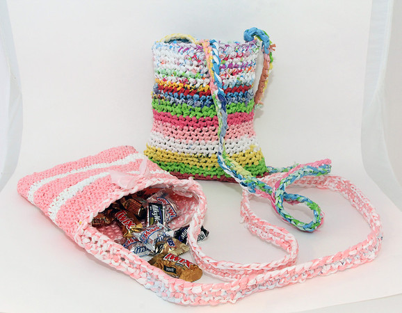 """Recently made bags for kids for Easter, by Accursio """"Gus"""" and Francesca Alba of Gloucester. Photo by Allegra Boverman."""