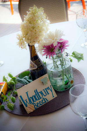 The tables were decorated with Mason jars filled with sea glass and bottles of Orval, a Belgian Trappist ale, the label of which shows a fish with a wedding ring in its mouth. Photo courtesy of Alicia Curcuru.